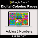 Earth Day: Adding 3 Numbers - Google Forms | Digital Color