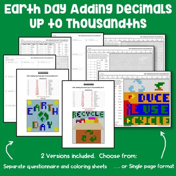 Earth Day Adding Decimals Up to Thousandths
