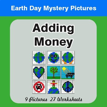 Earth Day: Adding Money - Color-By-Number Mystery Pictures