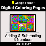 Earth Day: Adding & Subtracting 3 Numbers - Digital Colori