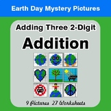 Earth Day: Adding three 2-digit Addition - Color-By-Number