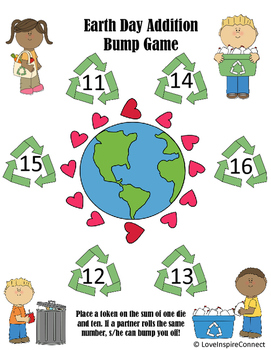 Earth Day Addition Bump Game, Add 10