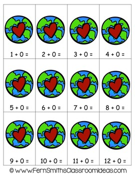 Earth Day Math A Quick and Easy to Prep Plus Zero Addition Center Game
