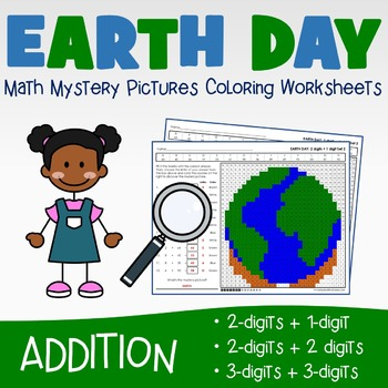 Earth Day Addition Worksheets and Coloring Pages