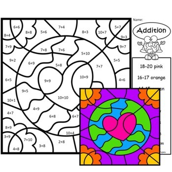 Earth Day Addition & Subtraction Facts Color by Number BUNDLE