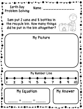 Earth Day Addition & Subtraction Word Problems (Kindergarten/First)