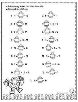 Earth Day Addition Subtraction within 20 Worksheets