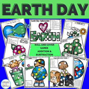 Earth Day Addition and Subtraction Fact Fun Roll and Cover Games for 1-2