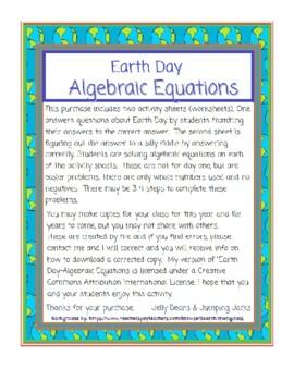 Earth Day-Algebraic Equations