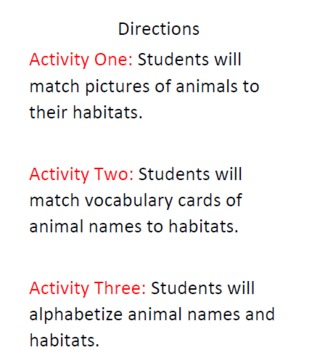 Earth Day: Animal and Habitat Activities