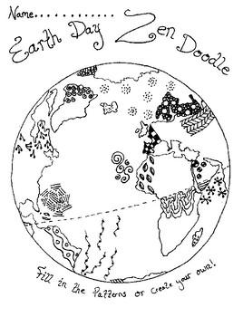 Earth Day Art Zen Doodle Fun Sub Plan