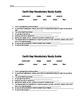 Earth Day Assessment and Vocabulary Study Guide