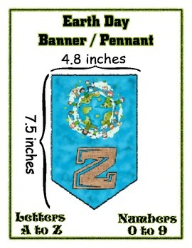 Earth Day Banner Pennant Set - All Letters & Numbers - Write any Message