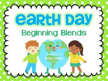 Earth Day Beginning Blends literacy station activity