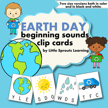 Earth Day Beginning Sounds Clip Cards