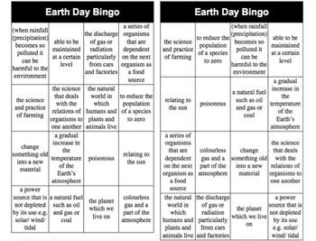 Earth Day Bingo differentiated game boards