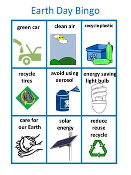 Earth Day Bingo for Young Students