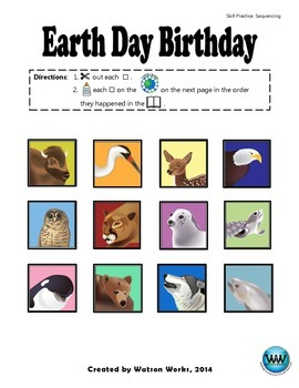 Earth Day Birthday - A Story Sequencing Activity
