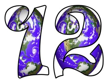 Earth Day Bulletin Board Numbers and Symbols