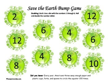 Earth Day Bump Math Games: Addition and Multiplication Game Boards