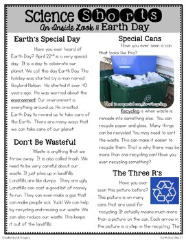 Earth Day Bundle: Teaching Main Idea, Text Features, and Fluency