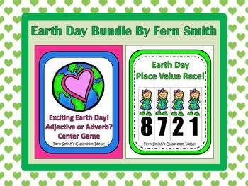 Earth Day Bundled Centers for Grammar and Place Value