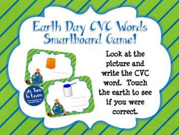 Earth Day Spelling CVC Words (Smartboard/Promethean Board)