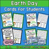Earth Day Cards for Students - Editable in color & black a