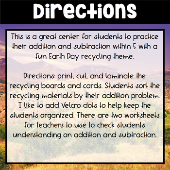 Earth Day Center ~ Recycling Sort