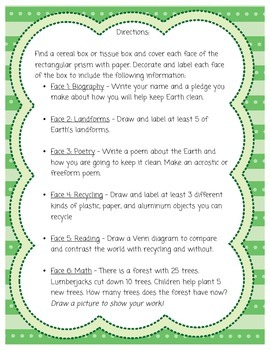 Earth Day Cereal Box Project By Chelsea Bakalar Tpt