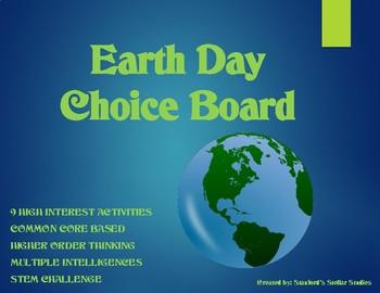 Earth Day Choice Board Tic Tac Toe Science ELA Activities Menu