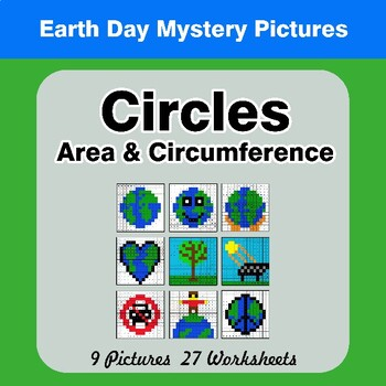 Earth Day: Circles Area & Circumference - Math Mystery Pictures