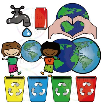 Earth Day Clip Art - Kids, Trees, Earth