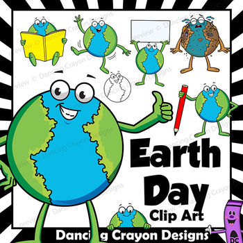 Earth Day Clip Art - Cartoon Character Planet Earth
