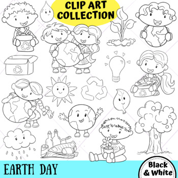 Earth Day Clip Art Collection (BLACK AND WHITE ONLY)