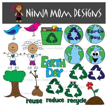 Earth Day Clip Art in Color and Black Line
