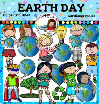 Earth Day Clip art  -Color and B&W- 30 items!