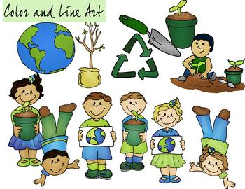 Earth Day Clipart - Color and Line Art 24 pc set