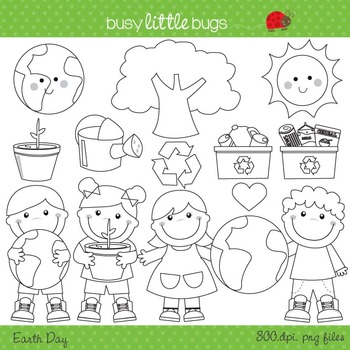 Earth Day Clipart Set - Includes color and blacklines