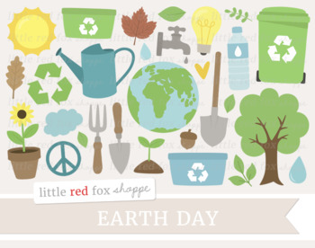 Earth Day Clipart; Tree, Garden, Gardening, Recycle, Recycling, Light Bulb