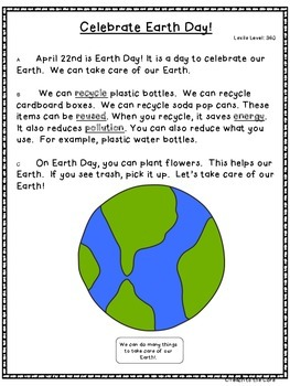 """Earth Day"" Close Reading - K-3rd Grade -Text Passages/Graphic Organizers"