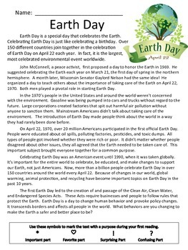 Earth Day: Close Reading Packet- 5 days of activities: Common Core