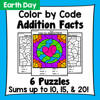 Earth Day Color By Addition Facts: Sums up to 10, 15, & 20