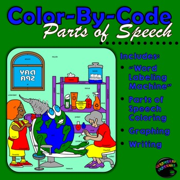Earth Day Parts of Speech Coloring--Center Activity [Graph, Color, Write!]