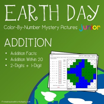 Earth Day Addition Color By Number Worksheets