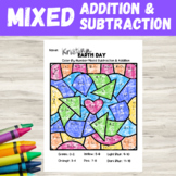 Earth Day Color By Number | Addition & Subtraction Mixed Problems | 2nd Grade