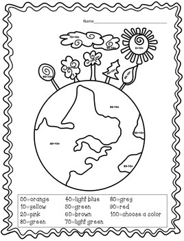 Earth Day Color By Number: Ten More Ten Less