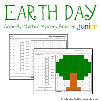 Earth Day Subtraction Color By Number Worksheets