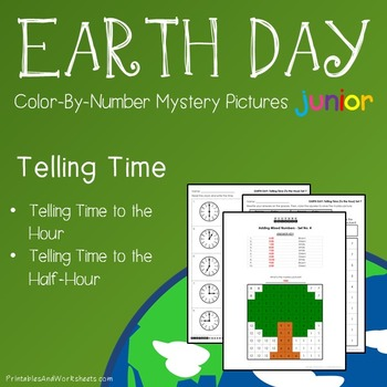 Earth Day Time to the Hour/Half Hour Coloring Worksheets