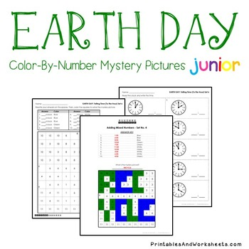 Earth Day Time To The Hourhalf Hour Coloring Worksheets Tpt